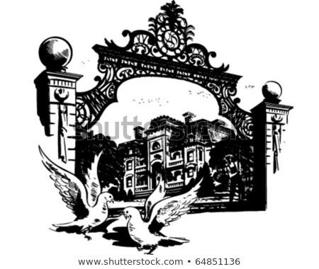 man and vintage iron gate stock photo © sirylok