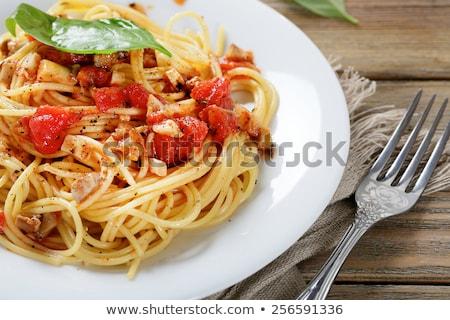bruschetta · ham · basilicum · brood · koken - stockfoto © m-studio