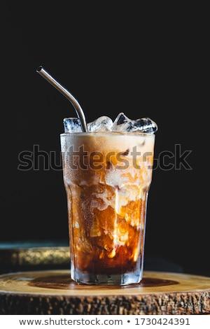 hideg · üveg · jeges · tej · kávé · jégkocka - stock fotó © nalinratphi