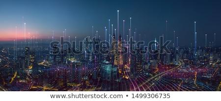 Cityscape закат промышленных город дым зданий Сток-фото © fogen
