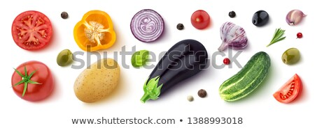sliced aubergine eggplant with basil leaves isolated white stock photo © dla4