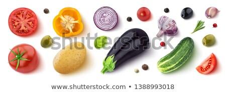 Sliced aubergine, eggplant with basil leaves isolated white Stock photo © dla4