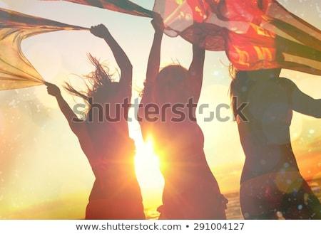 Nina baile puesta de sol ilustración feliz deporte Foto stock © adrenalina