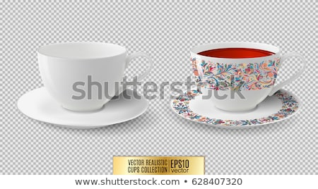 Clear white cup on plate isolated on white background Stock photo © tetkoren