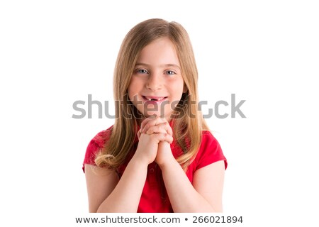 blond indented girl praying hands gesture in white Stock photo © lunamarina
