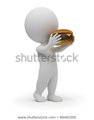3d small people eats a hamburger stock photo © anatolym