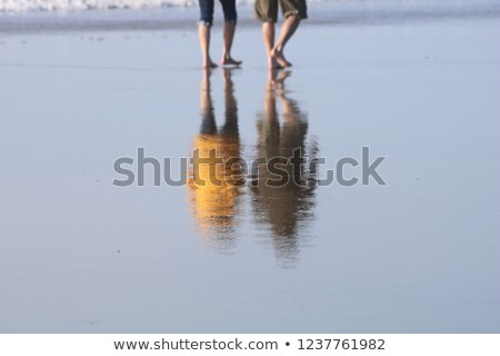 Bare Feet Coated in Sand Walking on Beach Stock photo © dash