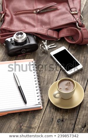 vrouw · zak · handtas · witte · houten · telefoon - stockfoto © nessokv