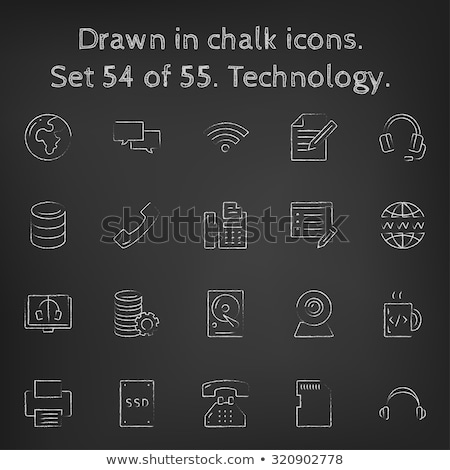 Stock photo: Memory card icon drawn in chalk.