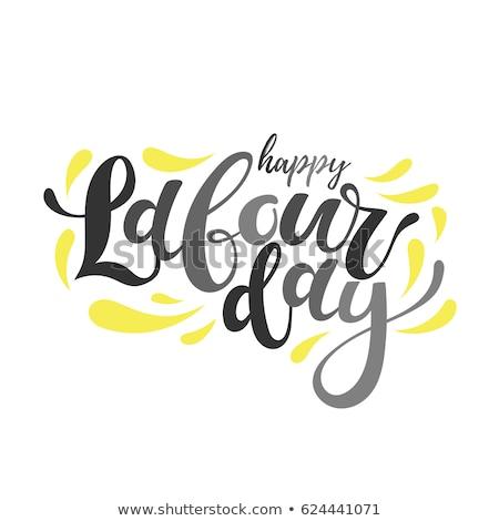 boldog · munka · nap · poszter · terv · amerikai · zászló - stock fotó © sdmix
