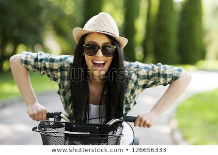 Mosolyog fiatal nő barna haj copy space káprázatos felfelé Stock fotó © dash