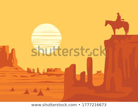 Indian man paardenrug zonsondergang illustratie natuur Stockfoto © adrenalina