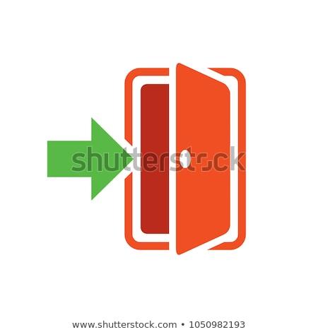 Foto stock: Quarto · sinal · de · saída · escuro · brilhante · acima · porta
