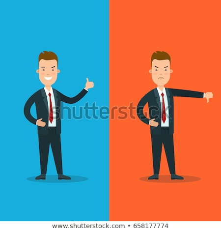 Businessman thumbs down. Angry unhappy businessman character vec Stock photo © NikoDzhi