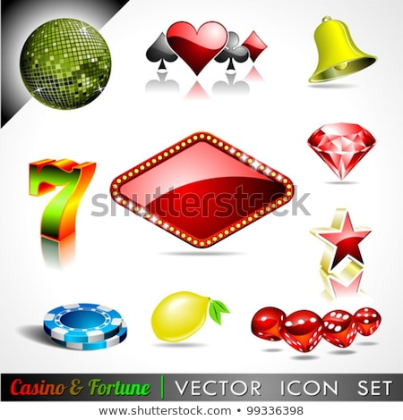 Stock photo: Vector illustration on a casino theme with seven symbols and rib