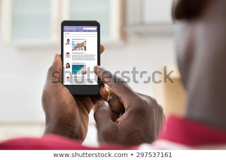 男 黒 スマートフォン ホーム ストックフォト © dolgachov