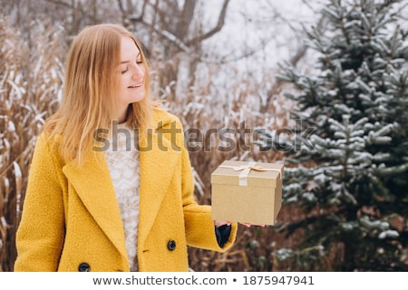 beautiful young blonde woman in colorful snow coat hold snow boo Stock photo © Traimak