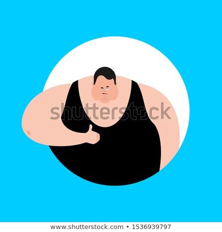 Fat thumbs up and winks emoji. Stout guy happy emoji. Big man. V Stock photo © popaukropa