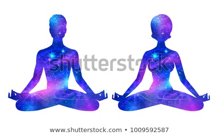 male and female silhouettes with outer space inside stock photo © sonya_illustrations