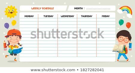 Tous les jours calendrier enfants vecteur modèle école Photo stock © vasilixa