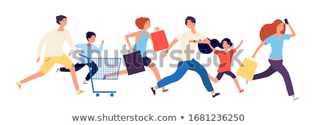 Group of people and children running Stock photo © IS2