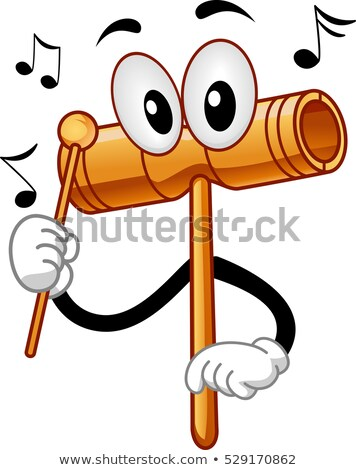 Mascotte hout instrument illustratie houten stick Stockfoto © lenm