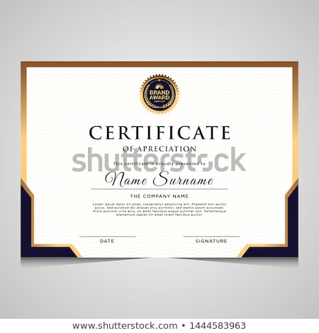 elegant blue qualification certificate design Stock photo © SArts