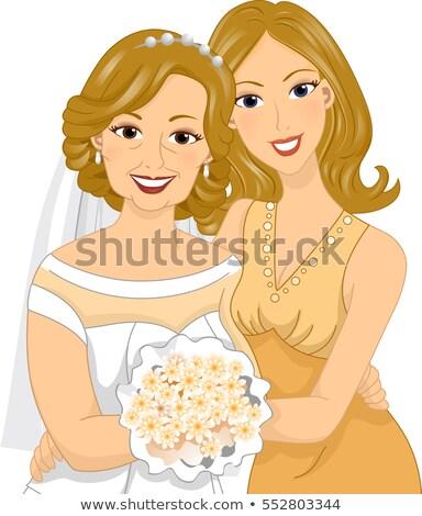 Girl Hug Mom Senior Golden Wedding Stock photo © lenm