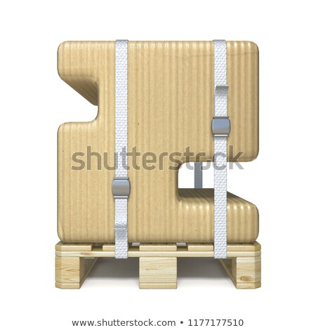Cardboard box font Number 2 TWO on wooden pallet 3D Stock photo © djmilic