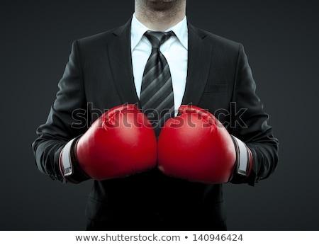 Işadamı boksör siyah takım elbise spor boks eldivenleri Stok fotoğraf © ia_64
