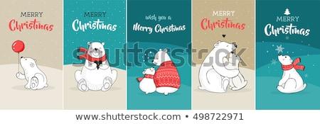 Neşeli Noel sevimli Retro penguen tebrik kartı Stok fotoğraf © cienpies