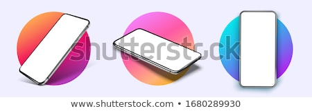 mobile phones banner   modern vector isometric illustration stock photo © decorwithme