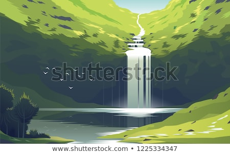 vert · paysage · lac · arbres · champs · arbre - photo stock © bluering