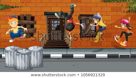 Cztery gry dla dzieci deskorolka taniec sąsiedztwo ilustracja Zdjęcia stock © colematt