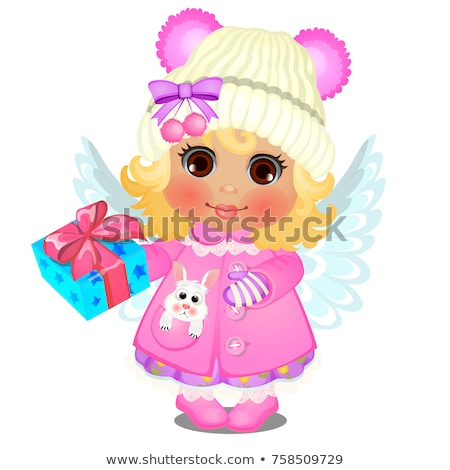 Animated cute little girl in winter clothes with angel wings and candies isolated on a white backgro Stock photo © Lady-Luck