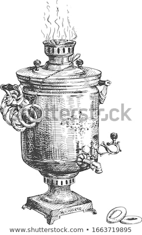 Samovar with Decorated Kettle Vector Illustration Stock photo © robuart