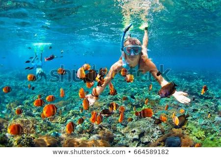 Girl in snorkeling mask dive underwater. Stock photo © NeonShot