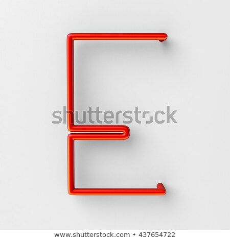 metal red lines font letter e 3d stock photo © djmilic