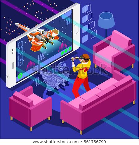 Oynama video oyunu geliştiriciler vektör ayarlamak Stok fotoğraf © RAStudio