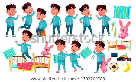 Asian Boy Kindergarten Kid Poses Set Vector. Preschool. Sleep, Bedroom. Pillow,Toy. Young Positive P Stock photo © pikepicture