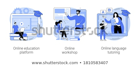 Online Courses Screens with Tutors on Videos Set Stock photo © robuart
