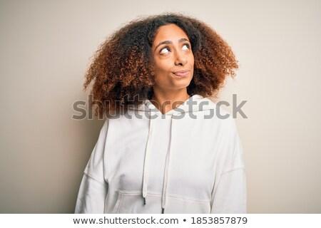 Portré afro amerikai mosolyog fiatal sportoló Stock fotó © deandrobot
