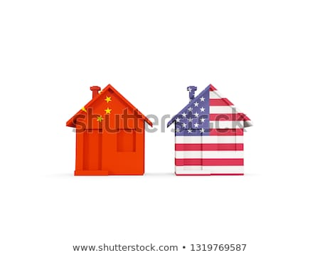 two houses with flags of united states and china stock photo © mikhailmishchenko