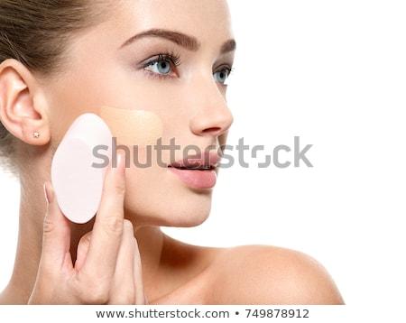 Lány jelentkezik alap arc izolált fehér Stock fotó © svetography
