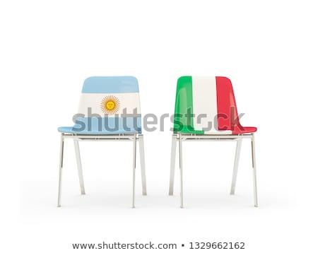 Dos sillas banderas Italia Argentina aislado Foto stock © MikhailMishchenko