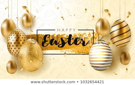Photo stock: Or · œufs · de · Pâques · fleur · de · printemps · carte · de · vœux · joyeuses · pâques · luxe