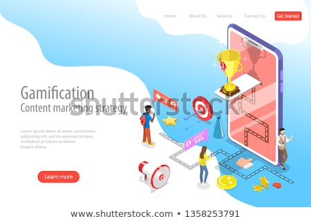 Isometric flat vector landing pate template of gamification, interactive content Stock photo © TarikVision