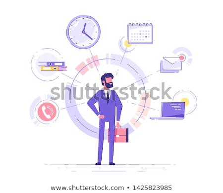 Fiatal férfi alkalmazott iroda időbeosztás üzlet Stock fotó © Elnur