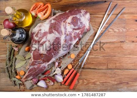 Hozzávalók főzés kebab étel vacsora bárány Stock fotó © furmanphoto
