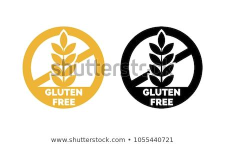 Glutenvrij symbool icon label ingesteld voedsel Stockfoto © SArts
